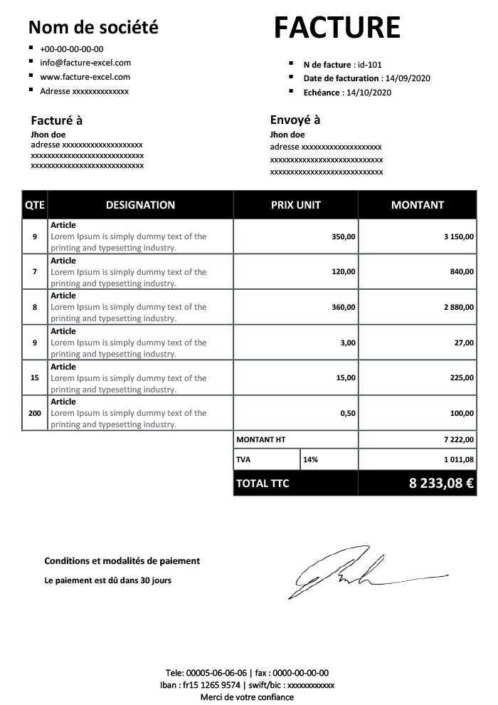modèle de facture pdf